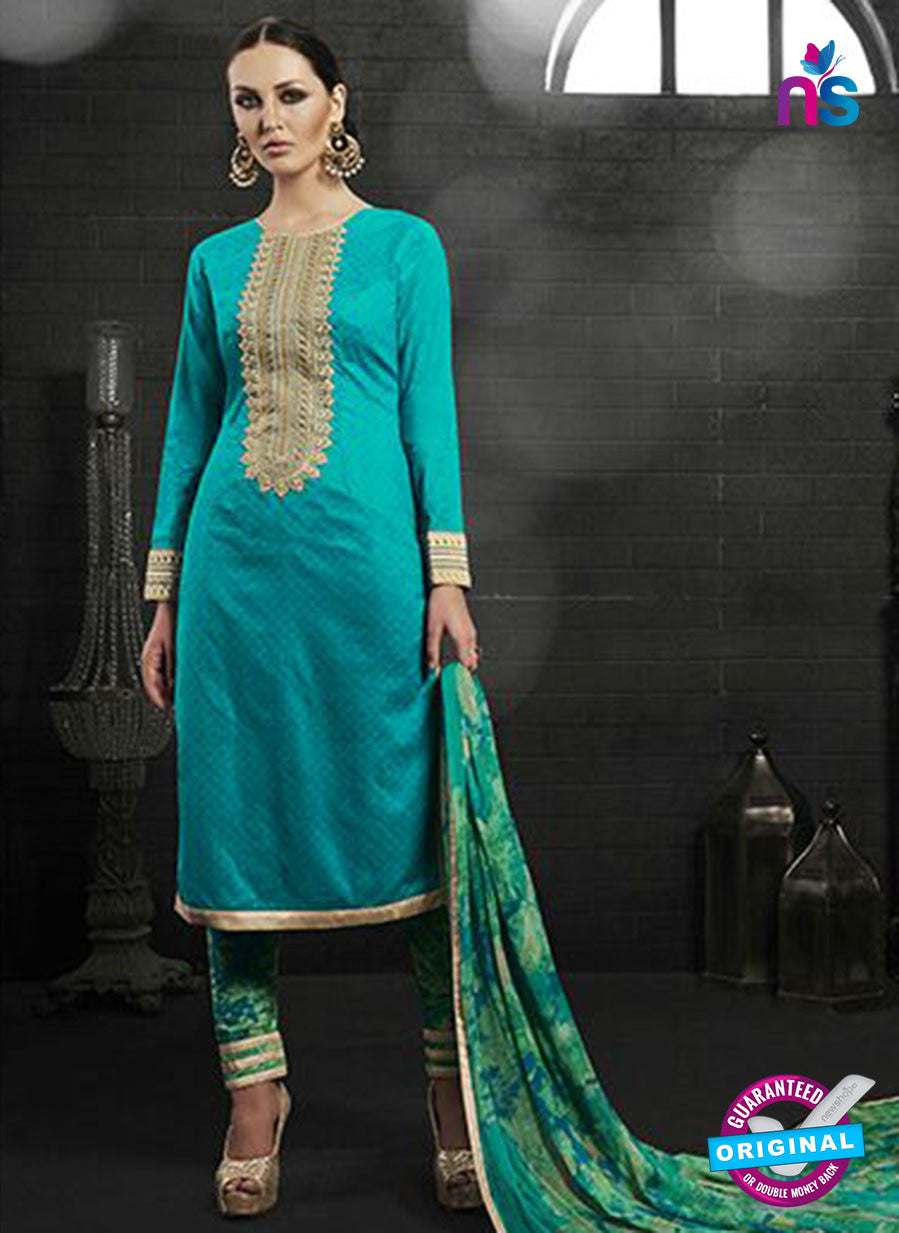 Az 2145 Sea Green Cambric Cotton Embroidery Pakistani Suit