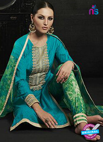 Az 2145 Sea Green Cambric Cotton Embroidery Pakistani Suit Online