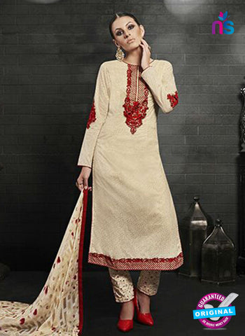 Az 2146 Beige Cambric Cotton Embroidery Pakistani Suit