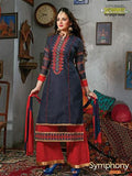 NS11777  Dark Blue and Red Cotton Straight Suit