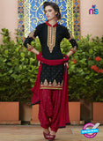 SC 13747 Black and Maroon Cotton Designer Exclusive Fancy Salwar Patiala Suit