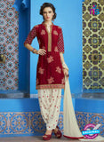 SC 13748 Maroon and White Cotton Designer Exclusive Fancy Salwar Patiala Suit