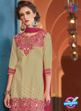 SC 13749 Beige and Pink Cotton Designer Exclusive Fancy Salwar Patiala Suit
