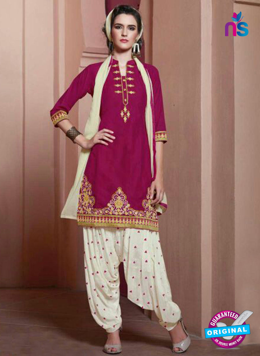 SC 13752 Magenta and White Cotton Designer Exclusive Fancy Salwar Patiala Suit