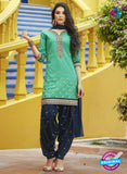 SC 13751 Green and Black Cotton Designer Exclusive Fancy Salwar Patiala Suit