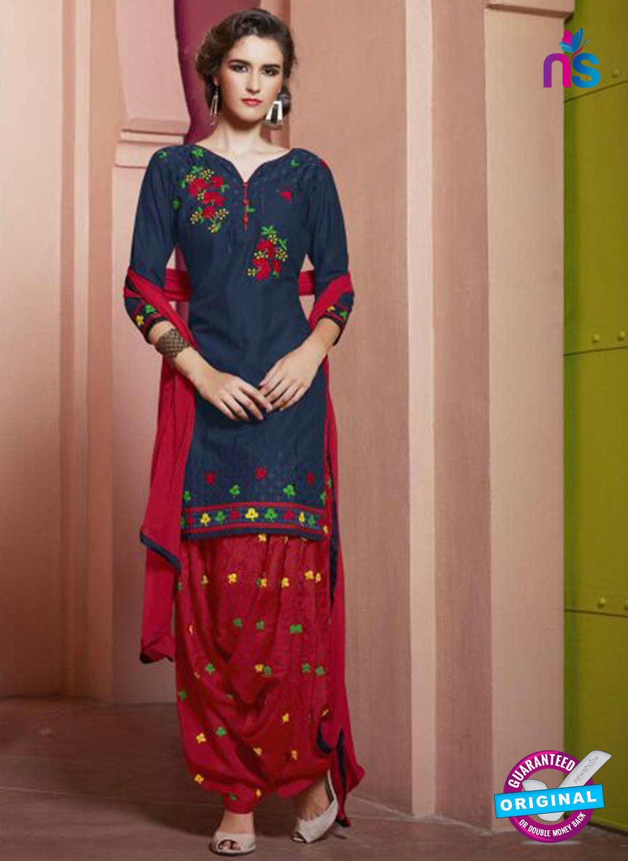 SC 13754 Blue and Red Cotton Designer Exclusive Fancy Salwar Patiala Suit