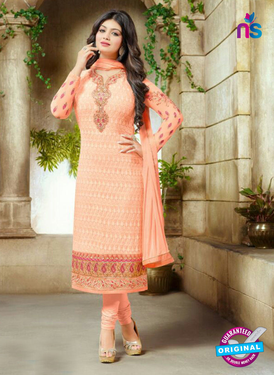 SC 13440 Peach  Embroidered Georgette Designer  Party Wear Straight Suit