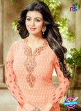 SC 13440 Peach  Embroidered Georgette Designer  Party Wear Straight Suit Online