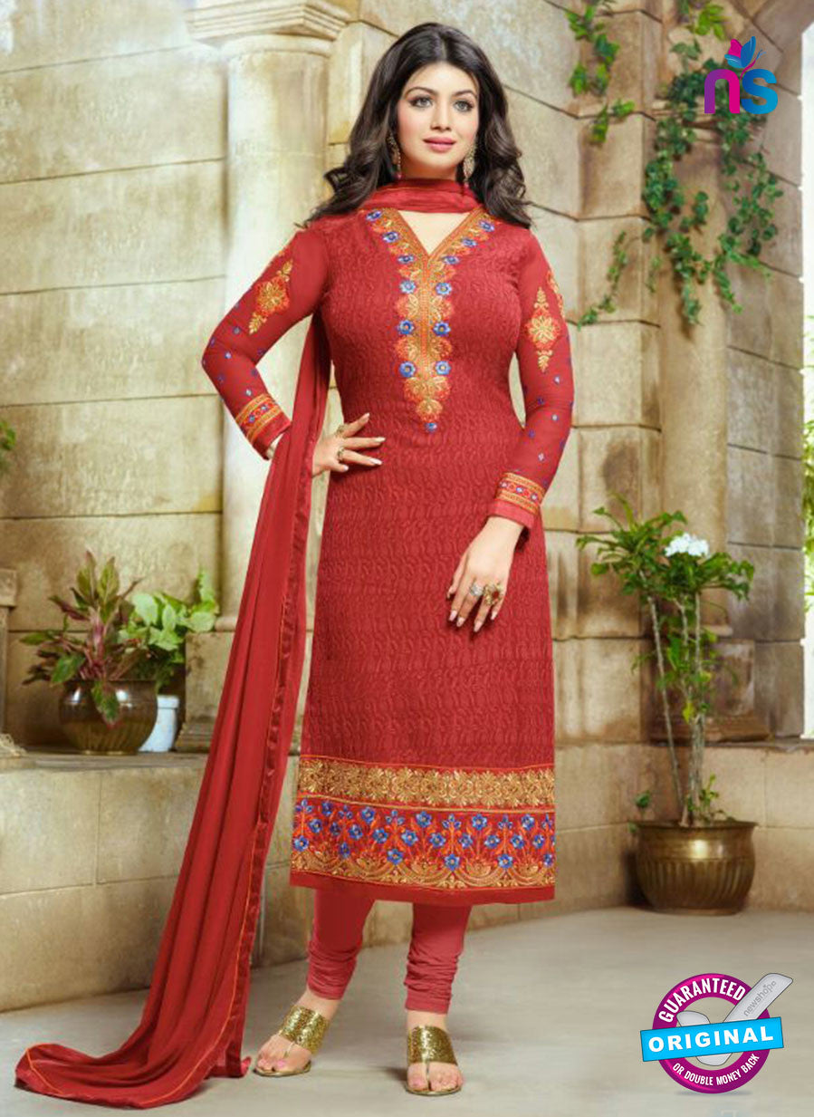 SC 13441 Red Embroidered Georgette Designer  Party Wear Straight Suit