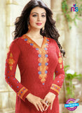 SC 13441 Red Embroidered Georgette Designer  Party Wear Straight Suit Online