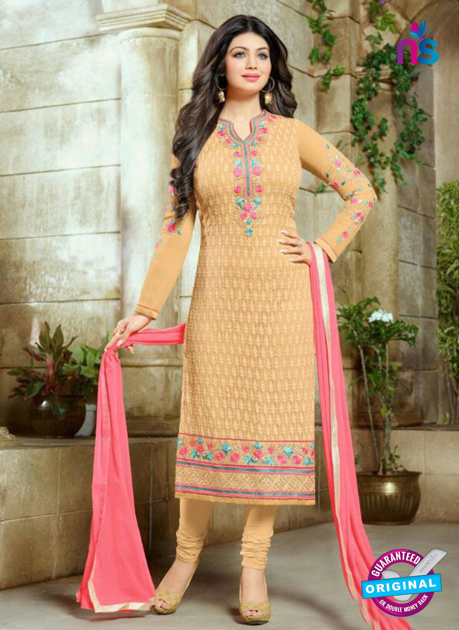 SC 13442 Beige and Pink Embroidered Georgette Designer  Party Wear Straight Suit