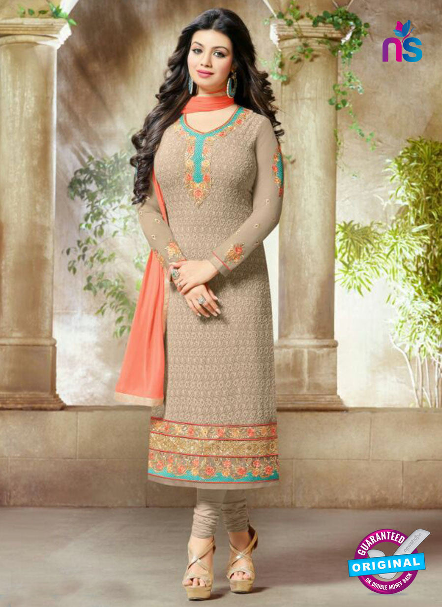 SC 13444 Brown Embroidered Georgette Designer  Party Wear Straight Suit