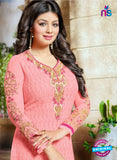 SC 13445 Pink Embroidered Georgette Designer  Party Wear Straight Suit Online