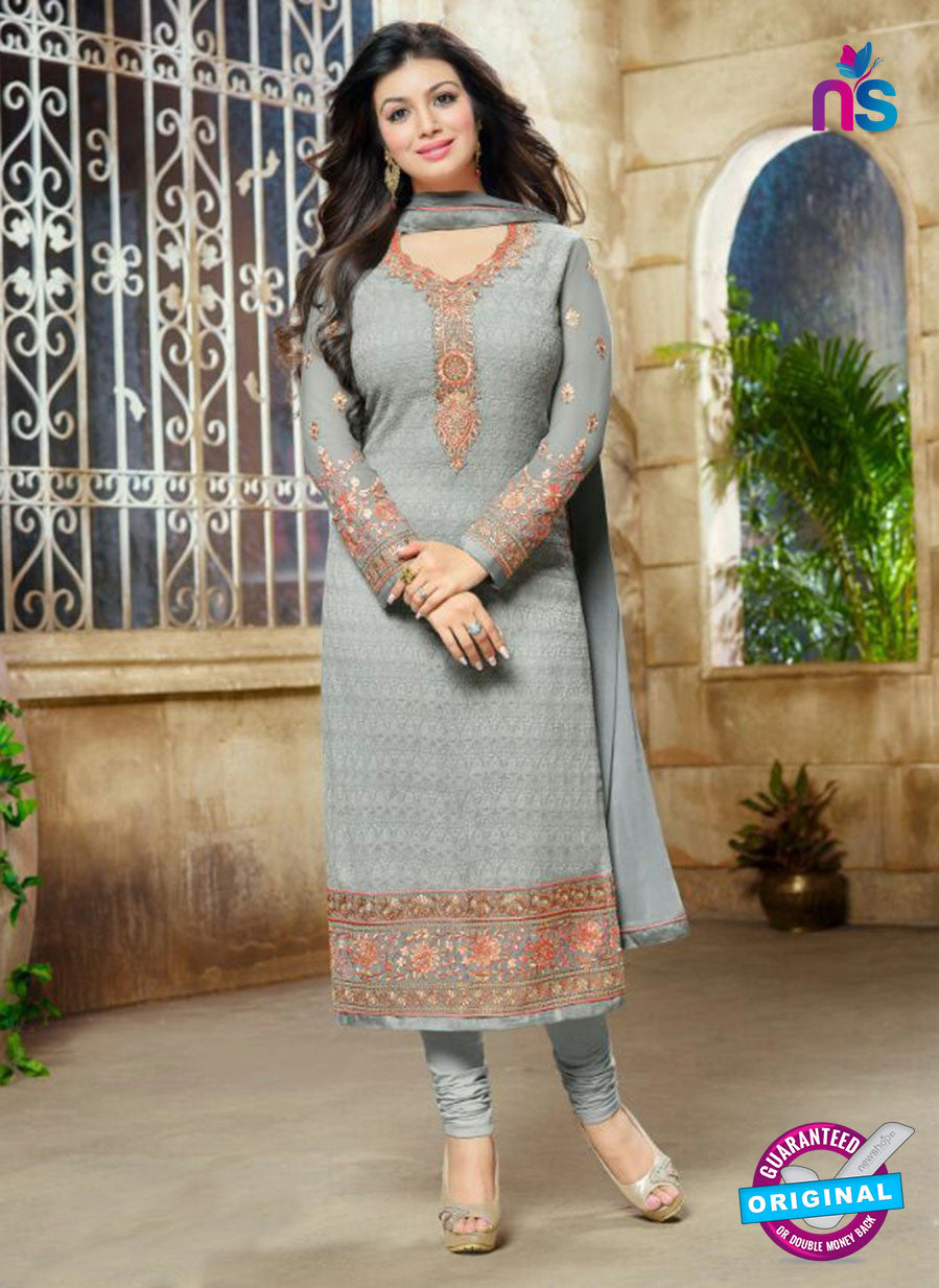 SC 13446 Gray Embroidered Georgette Designer  Party Wear Straight Suit