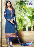 SC 13447 Blue Embroidered Georgette Designer  Party Wear Straight Suit