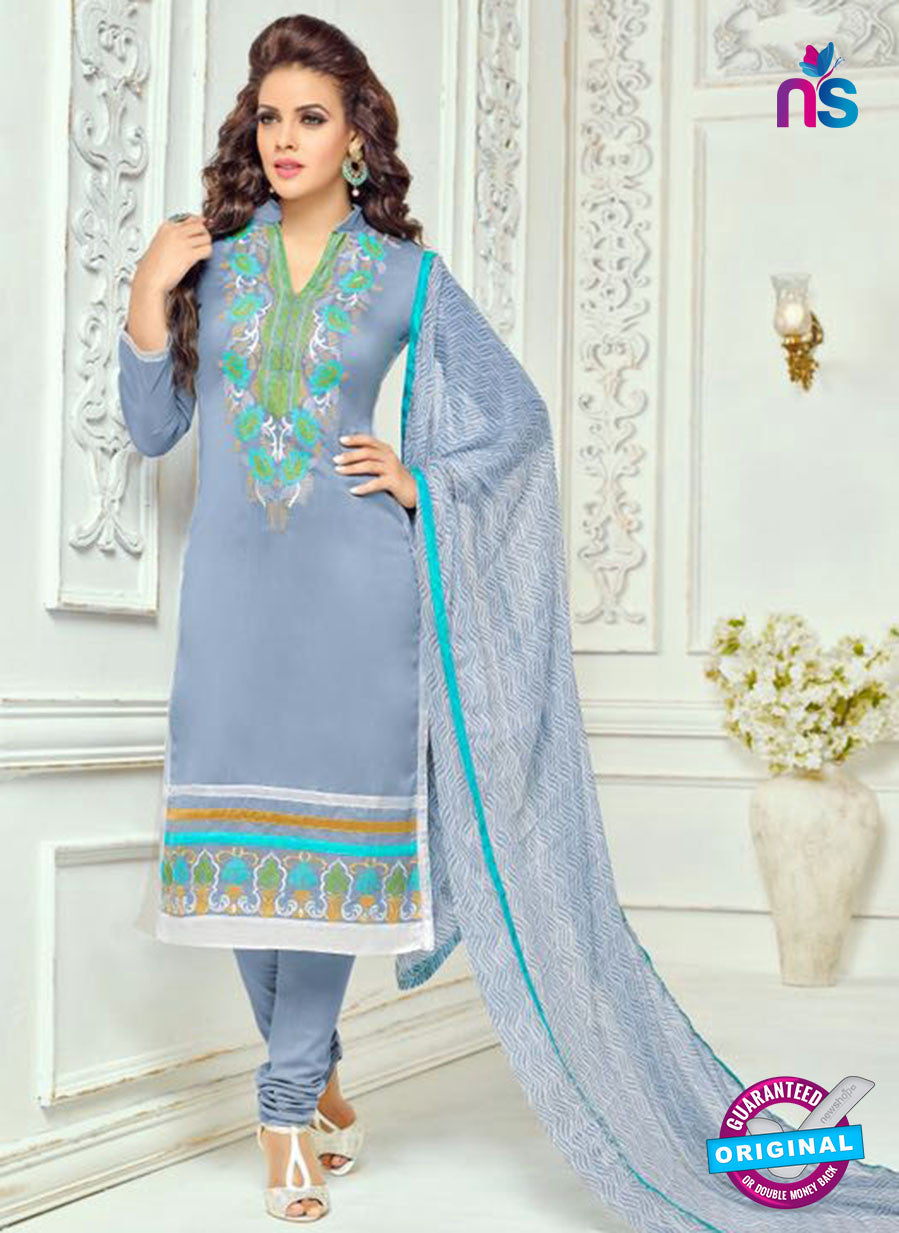 SC 13361 Blue Chanderi Cotton Designer Long Straight Suit