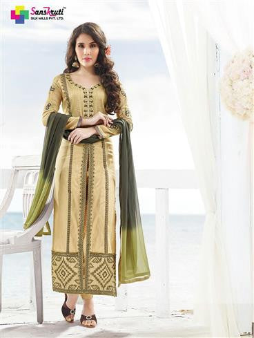 NS11891  Beige and Dark Olive Green Satin Cotton Straight Suit