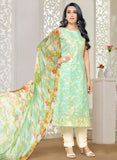 MF 77006 Sea Green Color Cotton Designer Suit