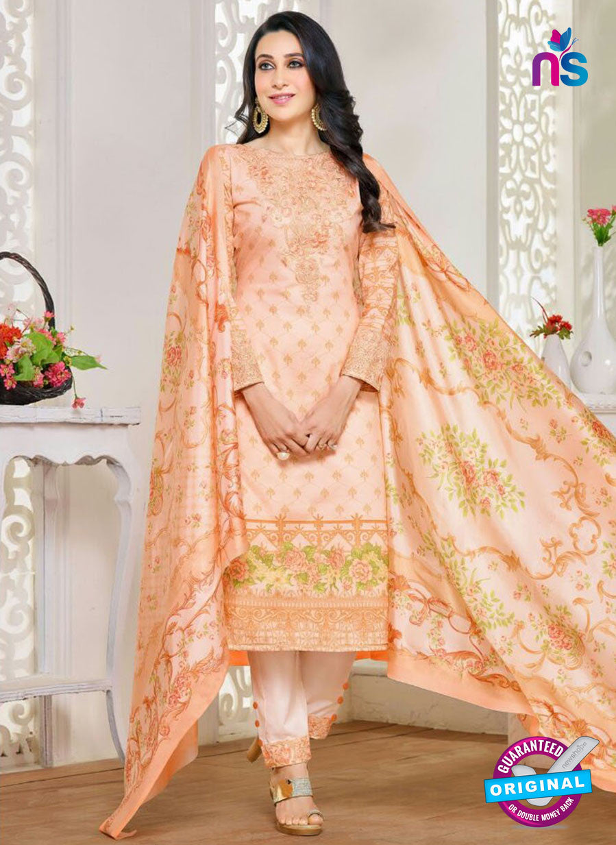 NS10466 Orange Party Wear Cotton Satin Straight Suit