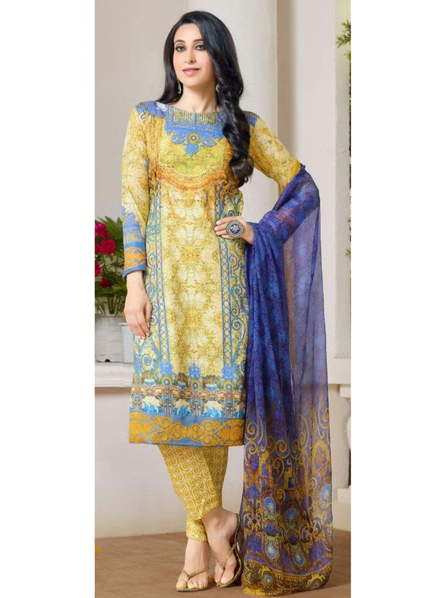 MF 77011 Yellow Color Cotton Designer Suit