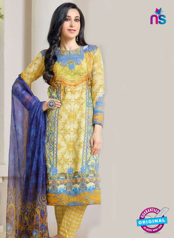 NS10469 Blue and Yellow Party Wear Cotton Satin Straight Suit