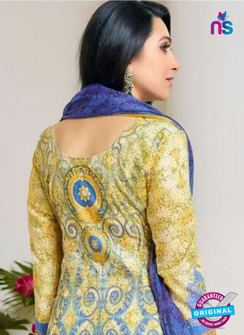 NS10469 Blue and Yellow Party Wear Cotton Satin Straight Suit Online