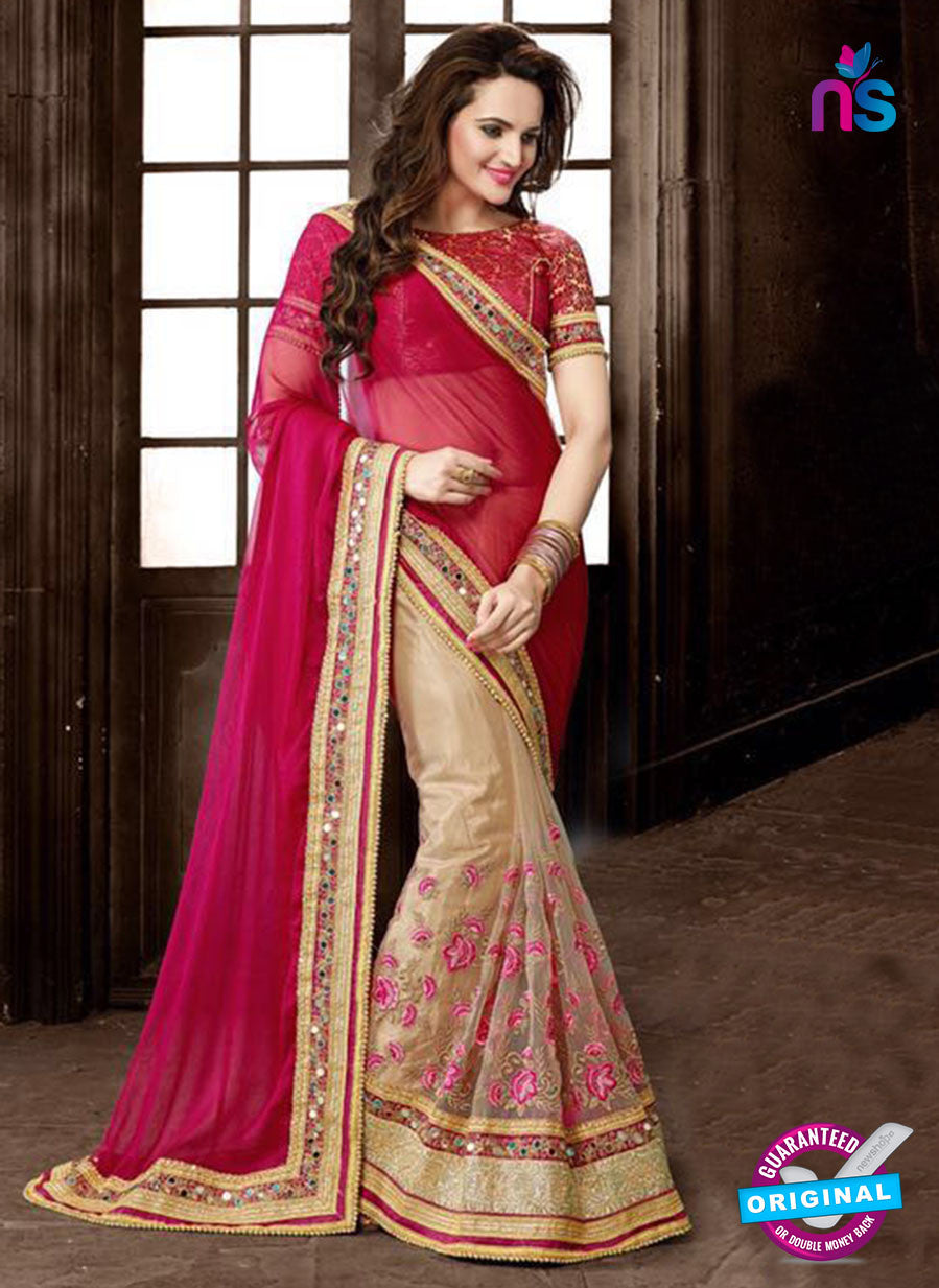 Ritz Royal 7701 Beige Net and Chiffon Wedding Saree