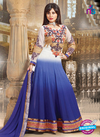 SC 14355 Blue and White Embroidered Georgette Wedding Wear Anarkali Suit