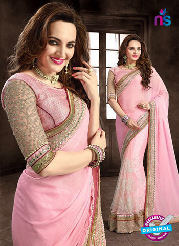 Ritz Royal 7702 Pink Net and Chiffon Wedding Saree