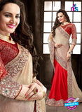 AZ 3747 Red Crepe and Chiffon Party Wear Saree