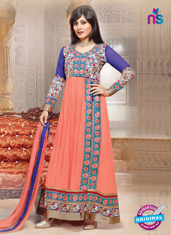 SC 14358 Peach and Purple Embroidered Georgette Wedding Wear Anarkali Suit