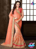 Ritz Royal 7707 Peach Chiffon and Net Wedding  Saree