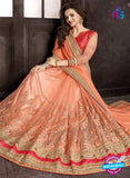 Ritz Royal 7707 Peach Chiffon and Net Wedding  Saree Online