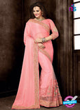 Ritz Royal 7710 Pink Net and Chiffon Wedding Saree