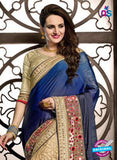 Ritz Royal 7712 Beige Georgette and Net Wedding Saree Online