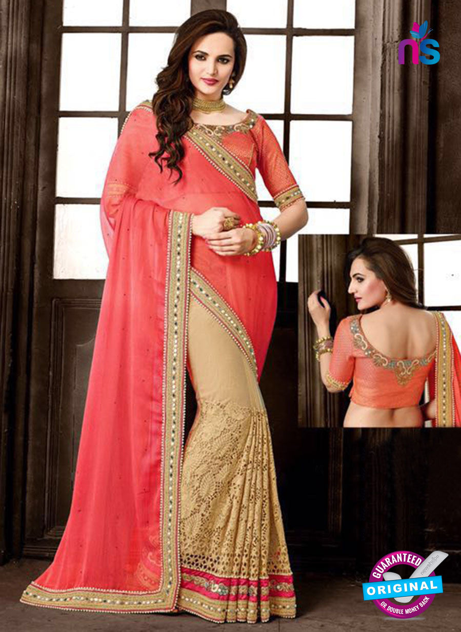 Ritz Royal 7713 Beige and Peach Chiffon and Net Wedding Saree