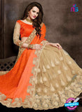 AZ 3756 Beige and Orange Net Party Wear Saree