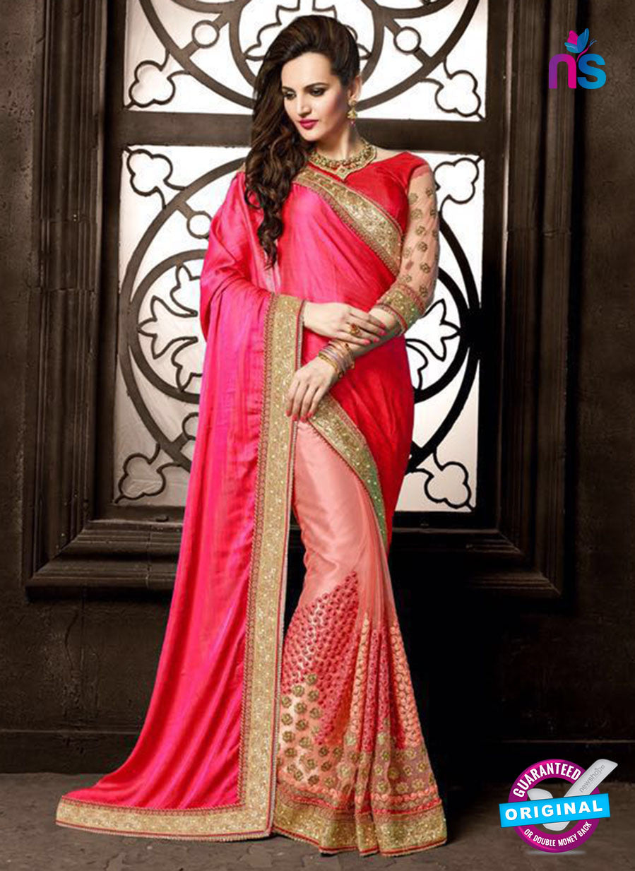 AZ 3757 Pink Net Party Wear Saree