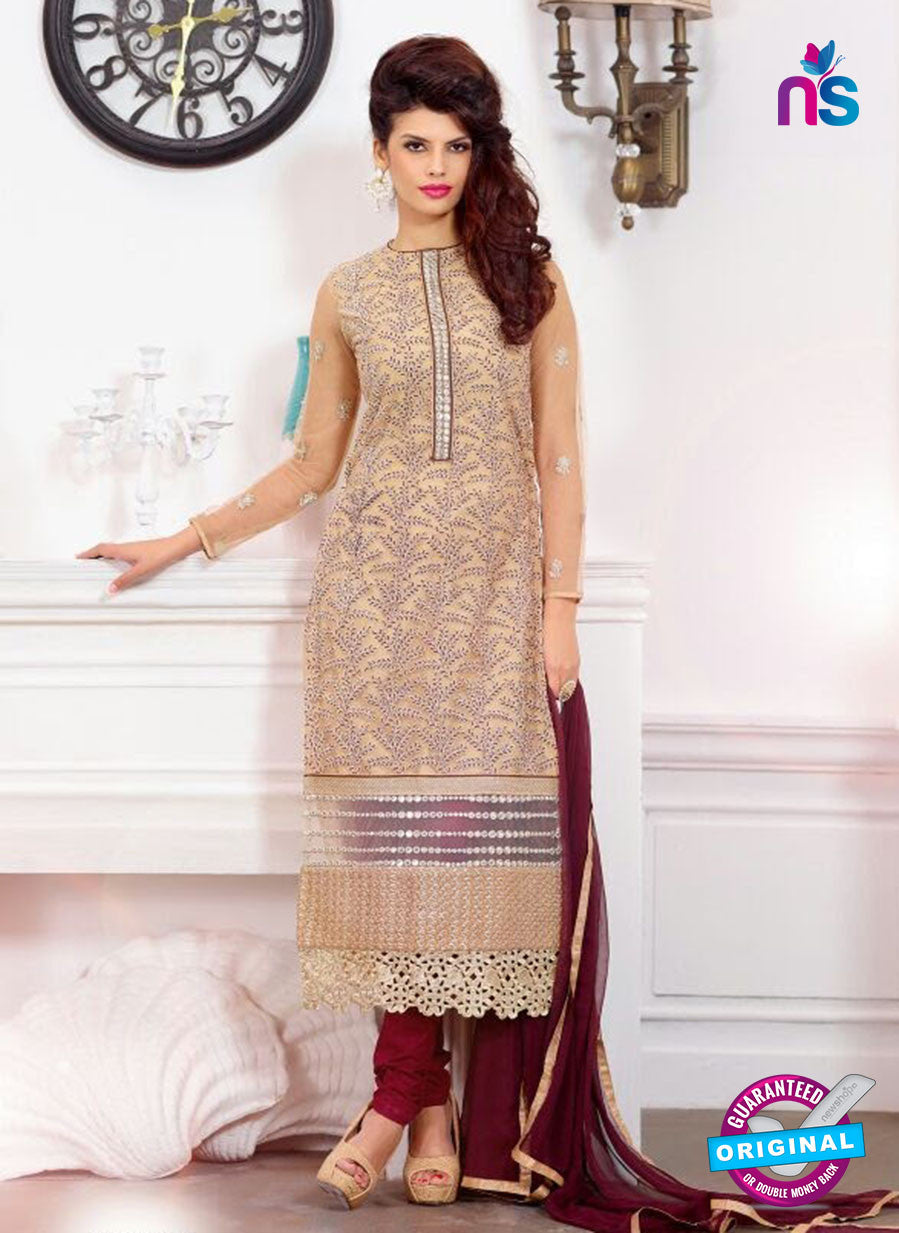 SC 13217 Beige and Maroon Georgette Party Wear Straight Suit