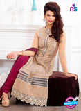 SC 13217 Beige and Maroon Georgette Party Wear Straight Suit Online