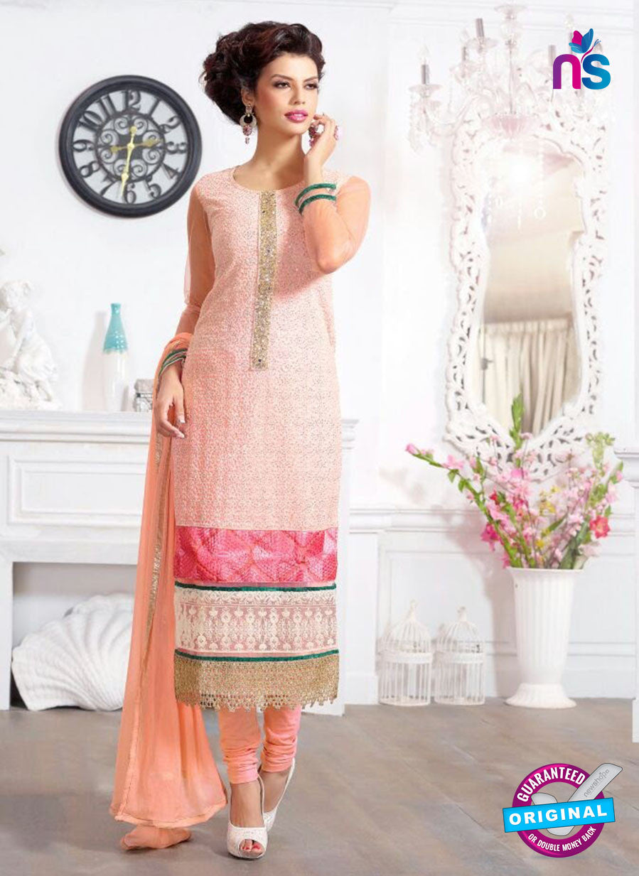 SC 13218 Peach and Pink Georgette Party Wear Straight Suit