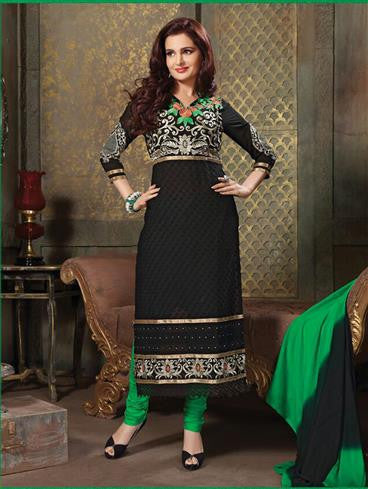 NS11231 Black and Green Pure Cotton Long Straight Suit