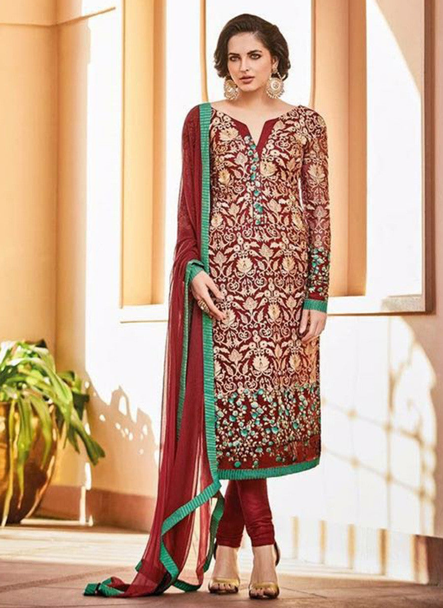 Omtex 78 Red Color Chiffon Designer Suit