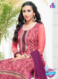 SC 12951 Pink and Purple Net with Georgette Party Wear Straight Suit