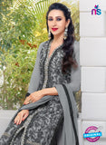 SC 12953 Grey and Black Net with Georgette Party Wear Straight Suit