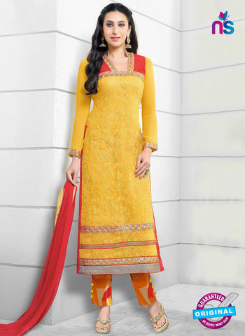 SC 12950 Yellow and Red Net with Georgette Party Wear Straight Suit