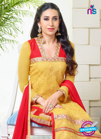 SC 12950 Yellow and Red Net with Georgette Party Wear Straight Suit Online