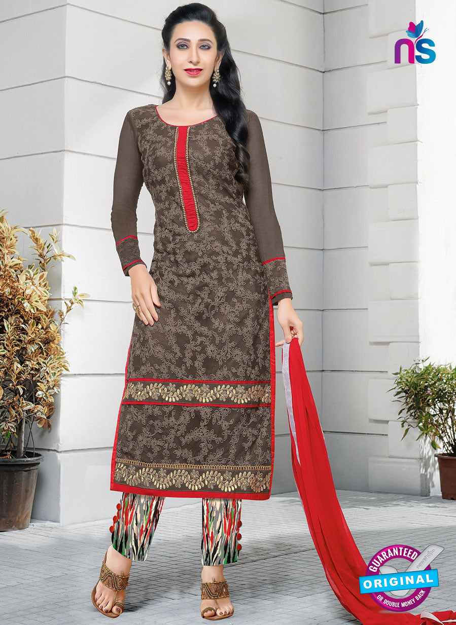 SC 12946 Brown and Multicolor Net with Georgette Party Wear Straight Suit