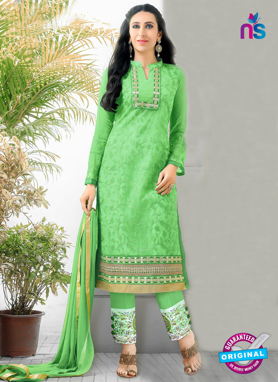 SC 12944 Green and Golden Net with Georgette Party Wear Straight Suit