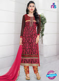 SC 12947 Pink and Brown Net with Georgette Party Wear Straight Suit